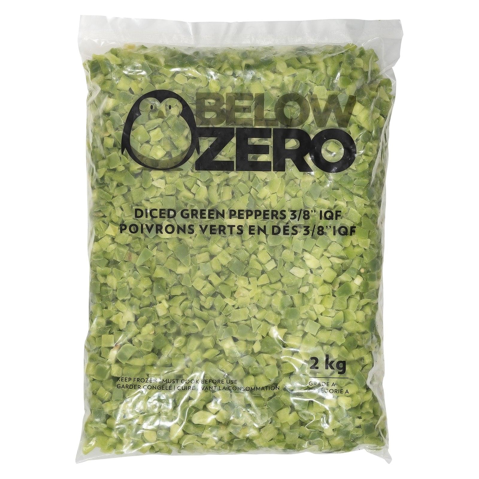 BELOW ZERO Diced green peppers