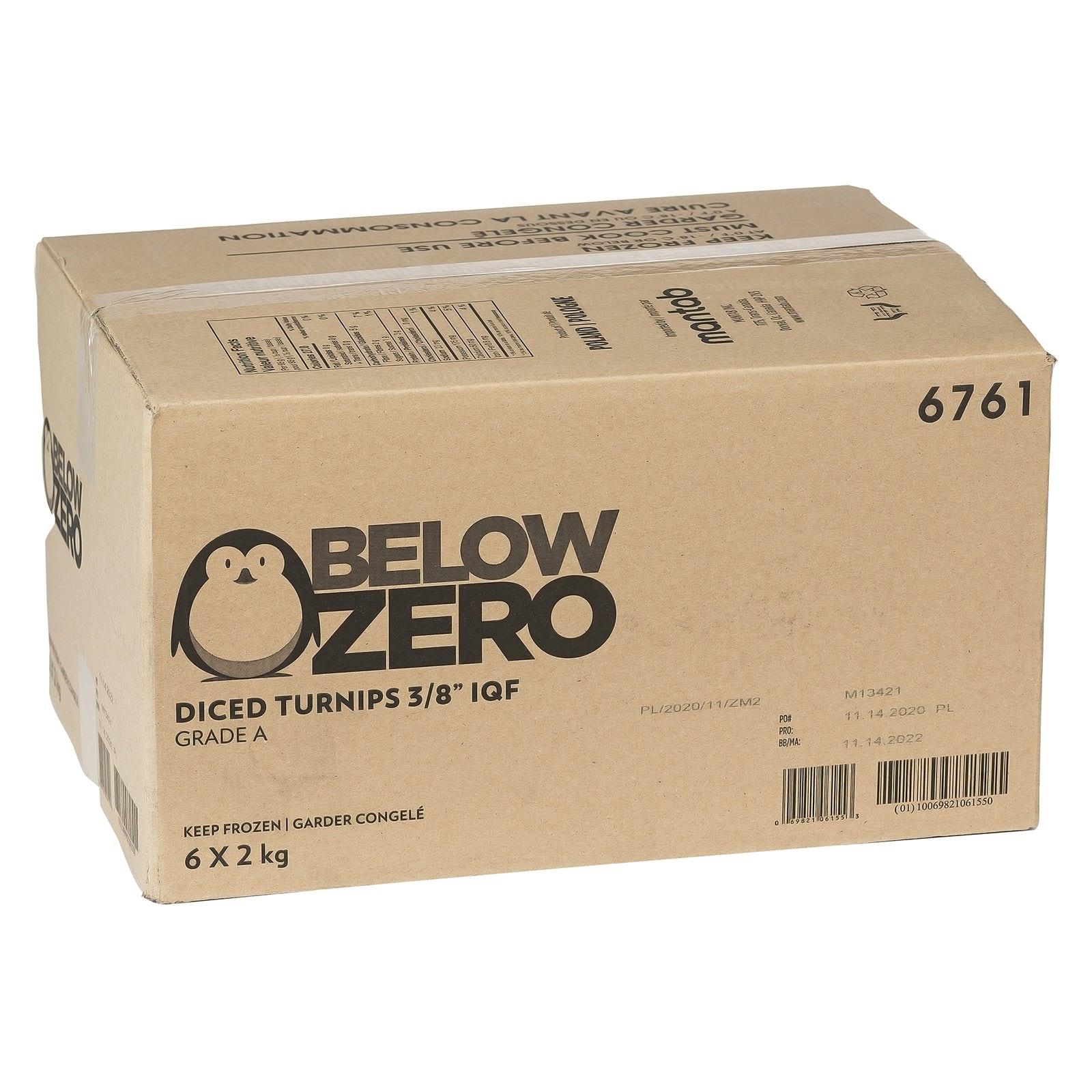 "BELOW ZERO Diced turnips 3/8"""
