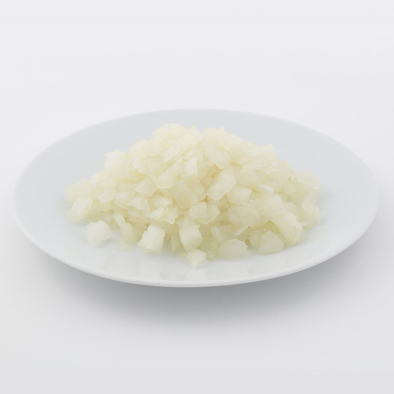 BELOW ZERO Diced white onions (blanched)