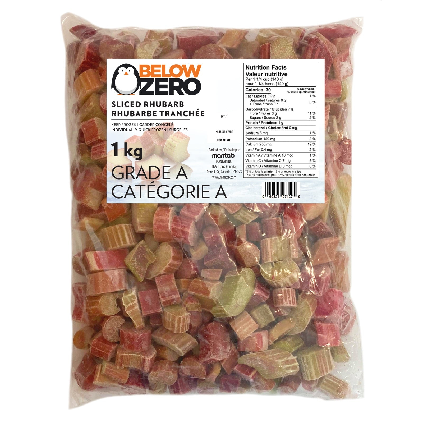 BELOW ZERO Sliced rhubarb