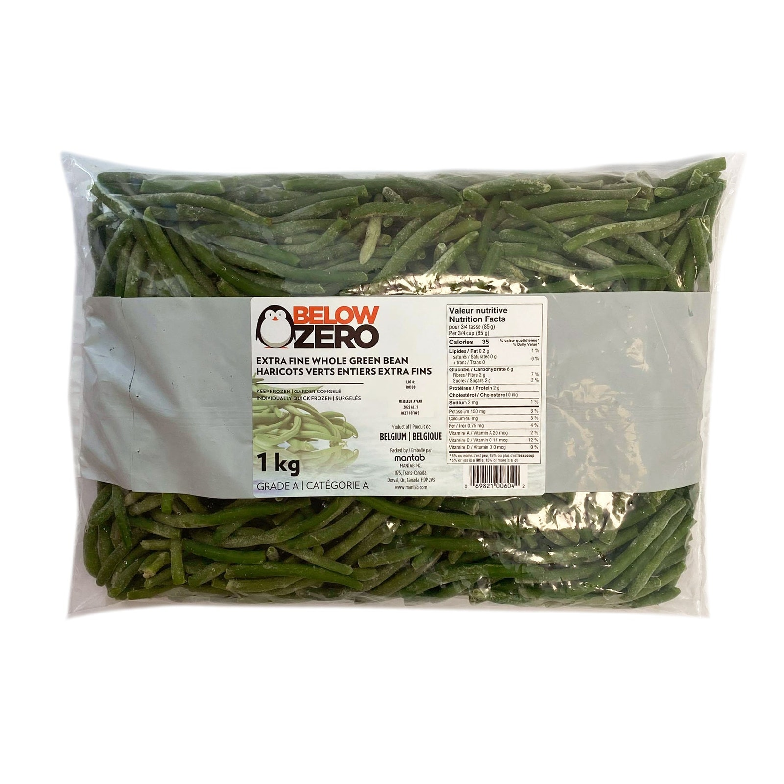 BELOW ZERO Extra fine whole green bean
