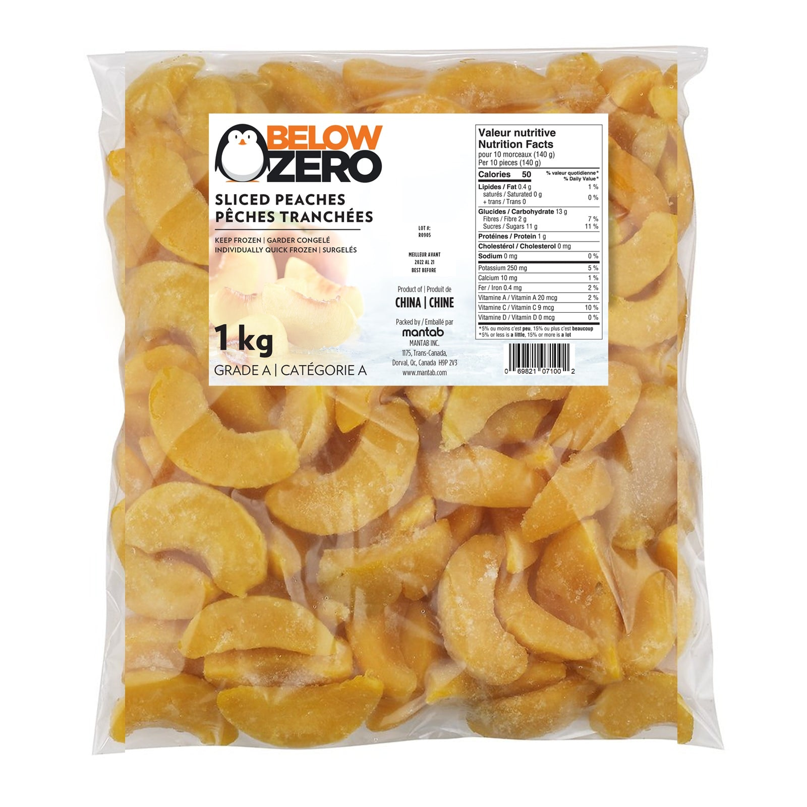 BELOW ZERO Sliced peaches