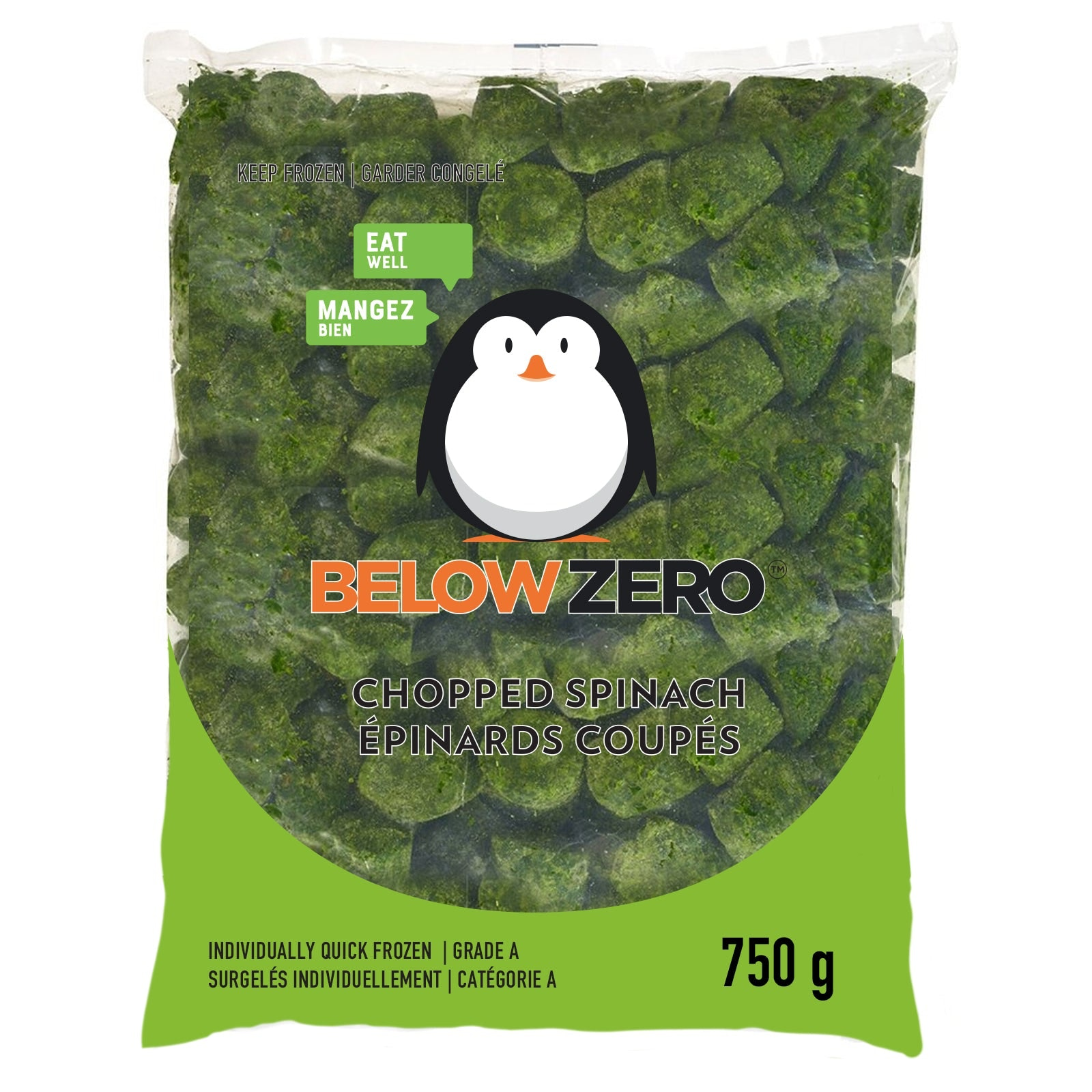 BELOW ZERO Chopped spinach